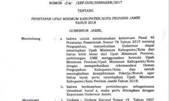 SK GUBERNUR JAMBI TENTANG PENETAPAN UMK TAHUN 2018 KAB. TANJUNG JABUNG BARAT